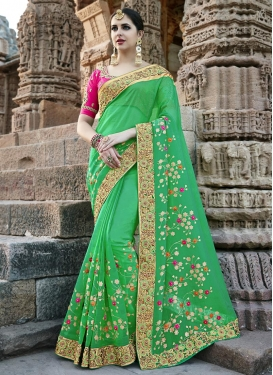 Beads Work Contemporary Style Saree