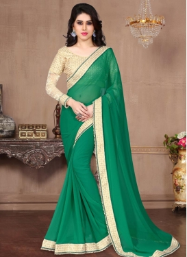 Beads Work Contemporary Style Saree For Festival