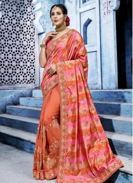 Beads Work Coral and Pink Trendy Classic Saree