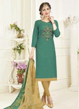 Beads Work Cotton Beige and Sea Green Trendy Churidar Salwar Kameez