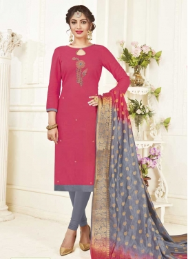 Beads Work Cotton Grey and Rose Pink Trendy Churidar Suit