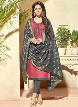 Beads Work Cotton Silk Grey and Pink Trendy Churidar Salwar Suit