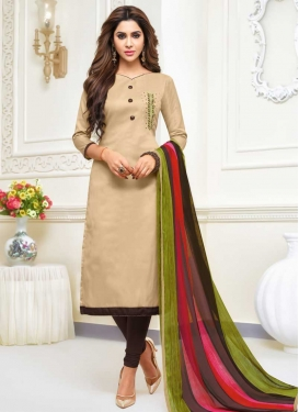 Beads Work Cotton Silk Trendy Churidar Salwar Suit