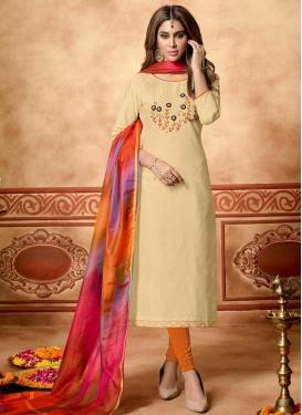 Beads Work Cream and Orange Cotton Trendy Churidar Salwar Suit