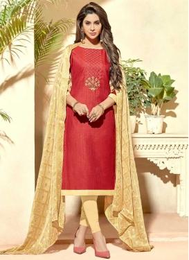 Beads Work Cream and Red Trendy Churidar Salwar Kameez