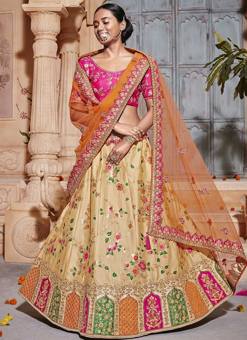 Beads Work Cream and Rose Pink A Line Lehenga Choli