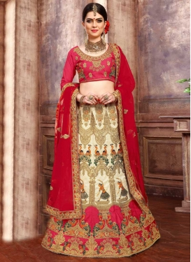 Beads Work Cream and Rose Pink Silk Trendy A Line Lehenga Choli