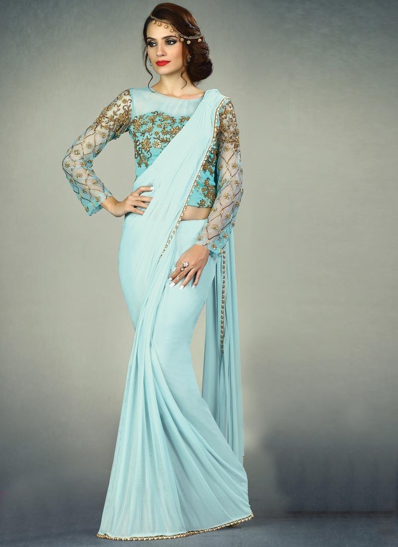 Beads Work Designer Contemporary Saree For Ceremonial