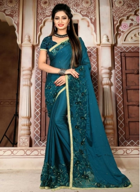 Beads Work Designer Contemporary Saree For Festival