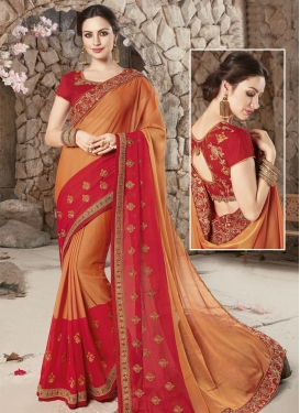 Beads Work Designer Contemporary Style Saree For Festival