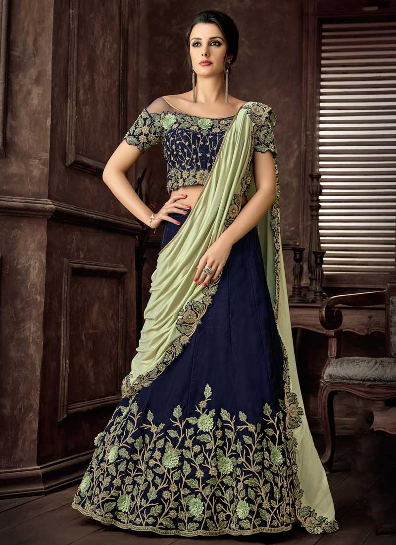 Beads Work Designer Lehenga Saree