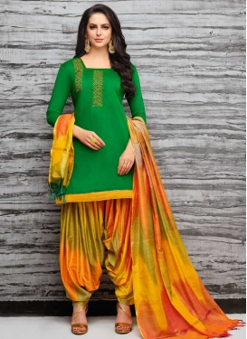 Beads Work Designer Semi Patiala Salwar Suit