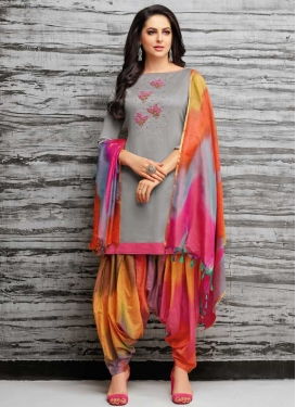 Beads Work Designer Semi Patiala Suit