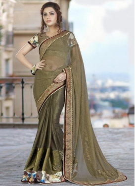 Beads Work Fancy Fabric Contemporary Saree For Ceremonial