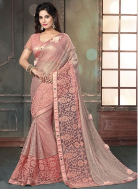 Beads Work Fancy Fabric Designer Contemporary Style Saree For Festival