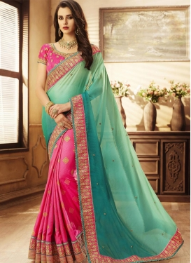 Beads Work Fancy Fabric Half N Half Saree