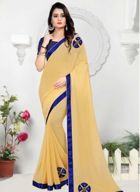 Beads Work Faux Chiffon Classic Saree For Ceremonial