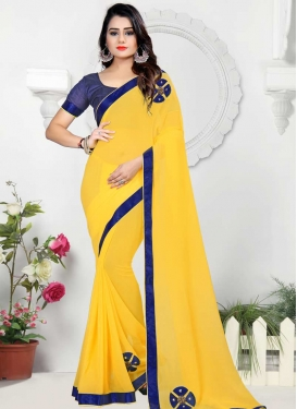 Beads Work Faux Chiffon Contemporary Style Saree