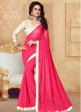 Beads Work Faux Georgette Contemporary Saree For Ceremonial