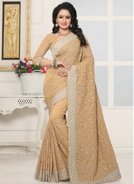 Beads Work Faux Georgette Contemporary Style Saree