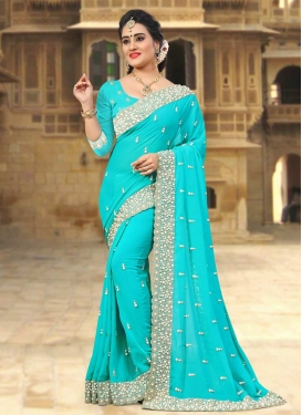 Beads Work Faux Georgette Trendy Classic Saree