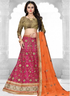 Beads Work Fuchsia and Orange A - Line Lehenga
