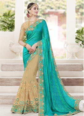 Beads Work Half N Half Trendy Saree
