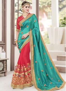 Beads Work Half N Half Trendy Saree For Festival