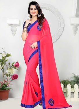Beads Work Hot Pink and Navy Blue Trendy Classic Saree