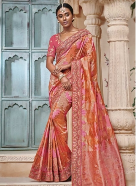 Beads Work Hot Pink and Orange Classic Saree