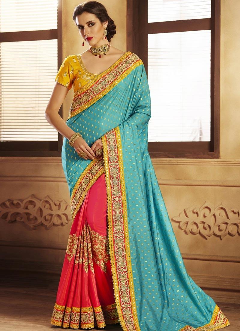 6683f940bbc073 Beads Work Jacquard Silk Light Blue and Rose Pink Designer Half N Half Saree