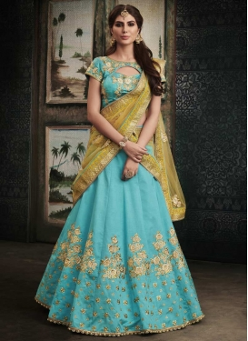 Beads Work Khadi Silk Trendy A Line Lehenga Choli