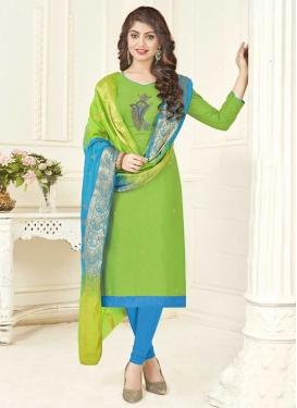Beads Work Light Blue and Mint Green Cotton Trendy Churidar Salwar Suit