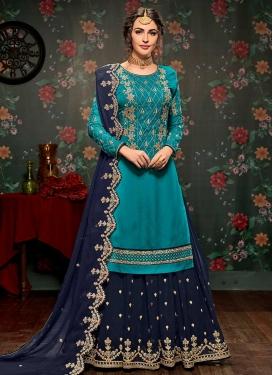 Beads Work Light Blue and Navy Blue Sharara Salwar Suit