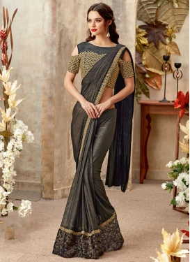 Beads Work Lycra Traditional Designer Saree