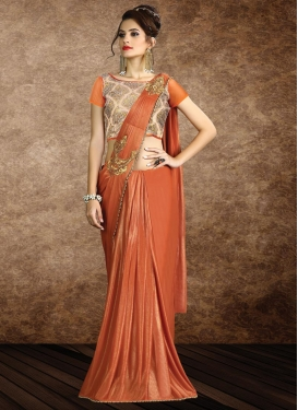 Beads Work Lycra Trendy Designer Saree