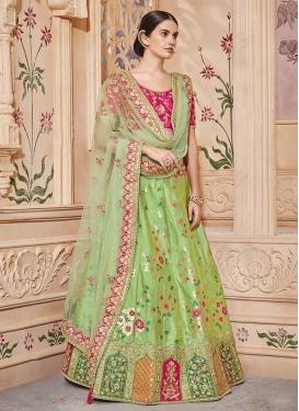 Beads Work Mint Green and Rose Pink Jacquard Silk Lehenga Choli