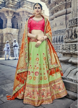 Beads Work Mint Green and Rose Pink Silk A Line Lehenga Choli
