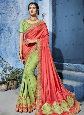 Beads Work Mint Green and Salmon Designer Half N Half Saree