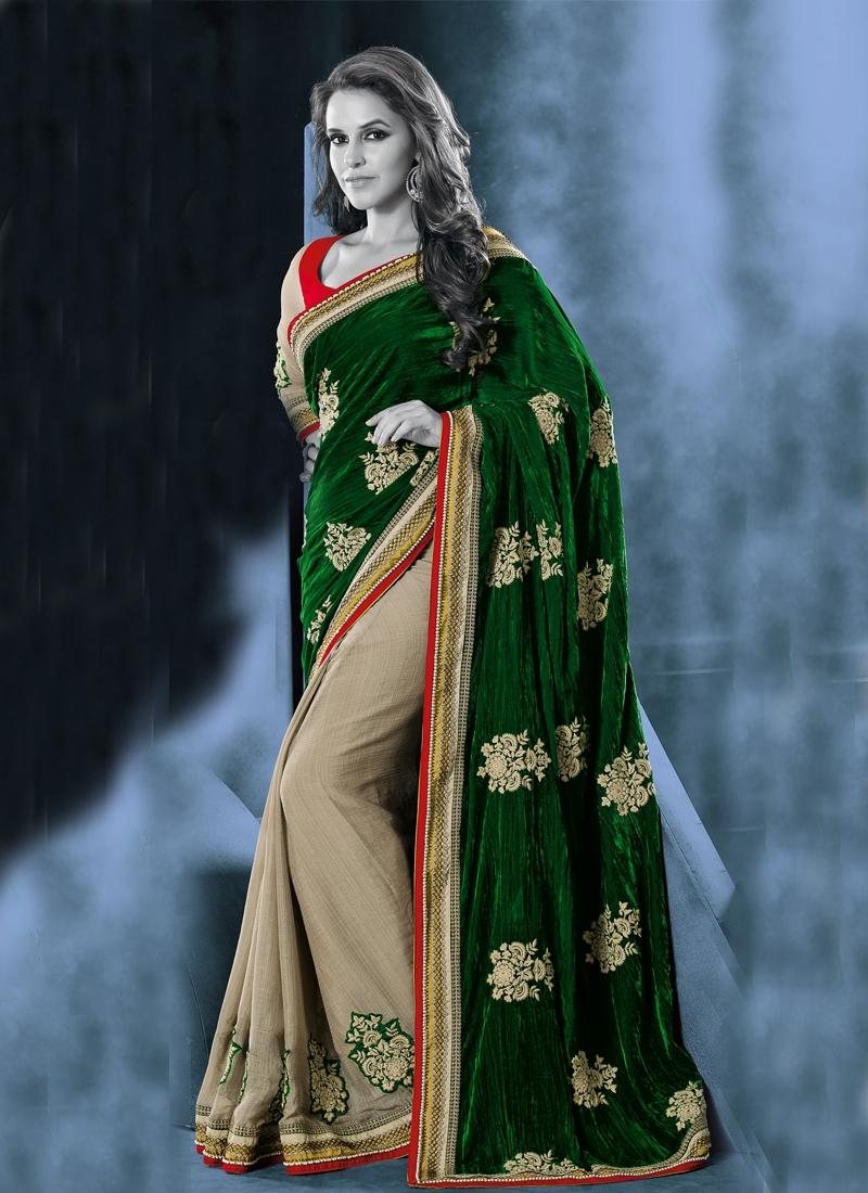 Beads Work Neha Dhupia Bollywood Half N Half Saree
