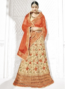 Beads Work Net Cream and Orange Trendy Lehenga Choli