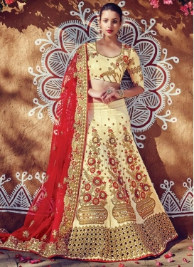 Beads Work Net Cream and Red Lehenga Saree