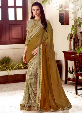 Beads Work Net Half N Half Trendy Saree For Festival