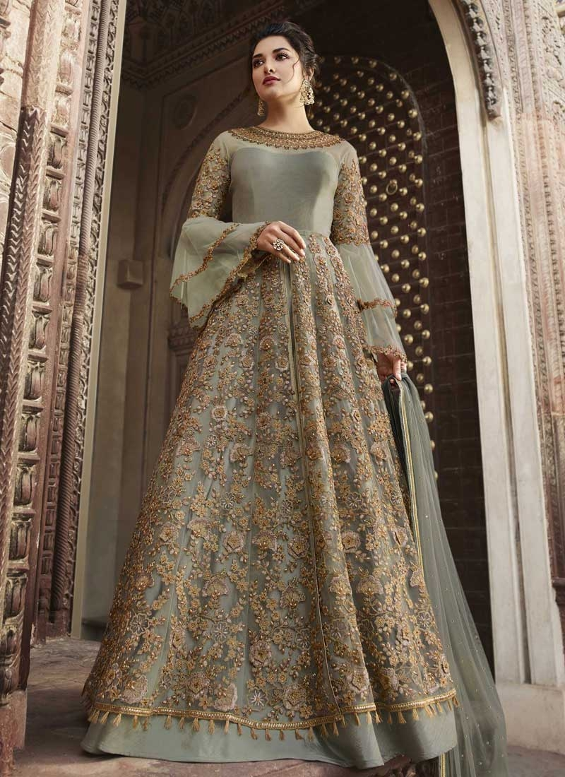 Beads Work Net Long Length Designer Suit