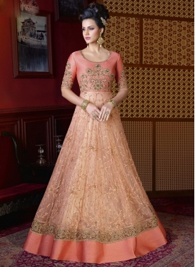 Beads Work Net Peach and Salmon Long Length Salwar Kameez