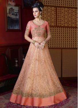 Beads Work Net Peach and Salmon Long Length Salwar Kameez