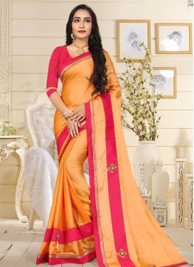 Beads Work Orange and Red Trendy Saree