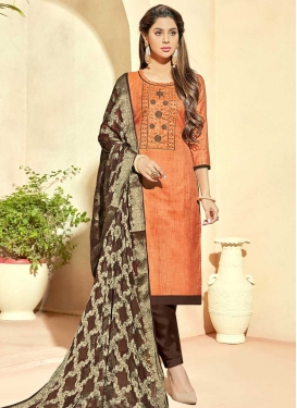 Beads Work Pant Style Straight Salwar Kameez