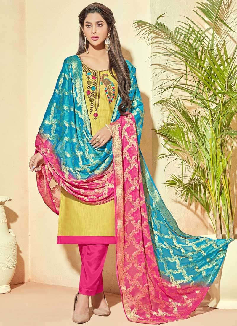 081a55629e Shop Beads Work Pant Style Straight Salwar Suit Online