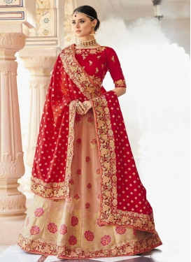 Beads Work Peach and Red Trendy Lehenga Choli